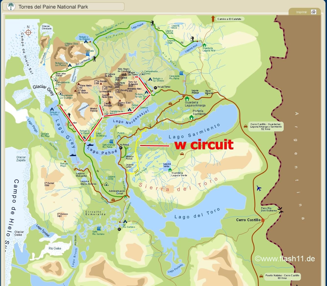 Circuito W Mapa : Torres del paine w circuit patagonia trip reportpatagonia trip